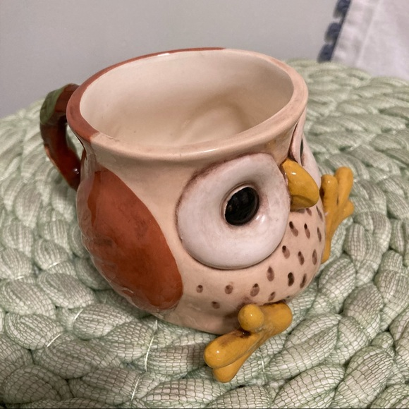 Vintage 70's handcrafted ceramic owl mug